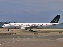 Turkish Airlines (Star Alliance livery) Airbus A330-223 TC-JNB operating for TAME.jpg