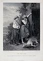 Two girls crying over a dead lamb. Etching with line engravi Wellcome V0022946.jpg