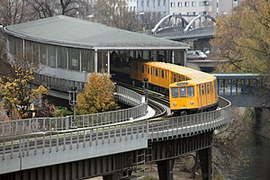 Möckernbrücke (Berlin U-Bahn) - U1 train toward Warschauer Straße entering Möckernbrücke