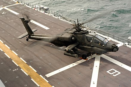 A U.S. Army AH-64A Apache aboard USS Nassau during Joint Shipboard Weapons and Ordnance training U.S. Army AH-64 prepares to launch from USS Nassau Feb 2005.jpg