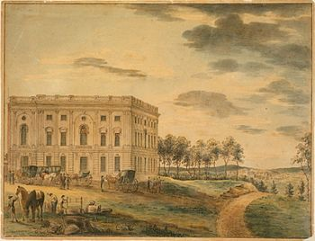U.S. Capitol, c. 1801, Completed Northern Wing by Thomas Birch (cropped).jpg