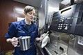 U.S. Navy Aviation Boatswain's Mate (Handling) Airman Apprentice Haley Freeland steams milk for coffee aboard the aircraft carrier USS Harry S. Truman (CVN 75) in the Gulf of Oman Oct. 8, 2013 131008-N-ZG705-010.jpg
