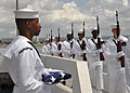 U.S. Sailors participate in an ash-scattering ceremony for retired Chief Petty Officer Earl Selover at the USS Utah Memorial on Ford Island in Pearl Harbor, Hawaii, May 22, 2013 130522-N-QG393-116.jpg