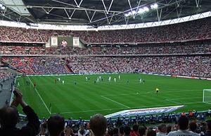 England national football team playing at Wembley Stadium