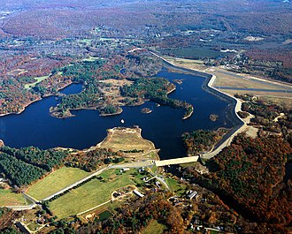 Mansfield, Connecticut - The Mansfield Hollow Dam, constructed in 1952, impounds the waters of the Natchaug, Fenton and Mt. Hope Rivers.
