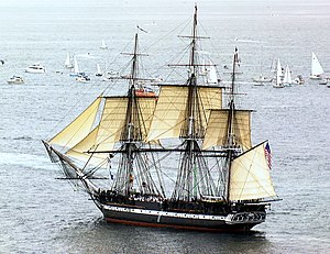 Topsail - USS ''Constitution'' sailing under (bow to stern) jibs, topsails, and spanker.