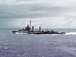 USS Edwards (DD-619) underway in the Caribbean Sea during her shakedown period, c. November 1942.