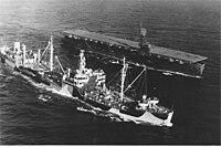 USS Severn (AO-61) and USS Rudyerd Bay (CVE-81) underway in April 1944.jpg