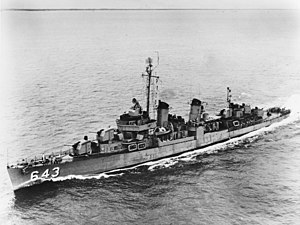 USS Sigourney (DD-643) underway at sea, in the 1950s (NH 102799)