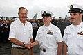 US Navy 020828-N-1058W-025 Former U.S. President George H. W. Bush congratulates Sailor aboard USS Harry S. Truman (CVN 75).jpg