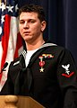 US Navy 040223-N-5576W-004 Hospital Corpsman 3rd Class Kenneth W. Ball of Falmouth, Ky., addresses an audience of friends, family and co-workers, after receiving the Bronze Star.jpg