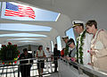 US Navy 051207-N-3019M-019 Chief of Naval Operations Adm. Mike Mullen prepares to toss a flower into the well aboard the USS Arizona Memorial.jpg