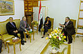 US Navy 060426-N-0696M-454 From left, U.S. Ambassador to Iraq Zalmay Khalilzad, Secretary of Defense Donald H. Rumsfeld, and Secretary of State Condoleezza Rice meet with Iraqi President Jalal Talabani in Baghdad.jpg