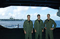 US Navy 060618-N-7526R-348 Lieutenants Jason Walborn, left, Steve Walborn, center, and Ben Walborn from Oley, Pa., stand in the hangar bay aboard the Nimitz-class aircraft carrier USS Ronald Reagan (CVN 76).jpg
