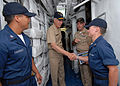 US Navy 070507-N-4965F-003 Commander, U.S. Third Fleet, Vice Adm. Samuel Locklear, greets Sailors assigned to Ticonderoga-class guided missile cruiser USS Port Royal (CG 73) during a tour of the ship at Naval Station Pearl Harb.jpg