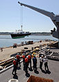US Navy 070531-N-7981E-143 Members of deck department work to bring the Commander, Carrier Strike Group 9, admiral's barge aboard Nimitz-class aircraft carrier USS Abraham Lincoln (CVN 72).jpg