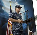 US Navy 090616-F-7923S-095 Capt. Bob Lineberry, mission commander for Continuing Promise 2009, addresses the crowd at the Max Seidel School during the Continuing Promise closing ceremonies.jpg