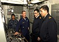 US Navy 090629-N-0924R-005 Master Chief Engineman Patrick Holden explains the engineering console of the amphibious dock landing ship Oak Hill (LSD 51) to Navy of the Argentine Republic chief petty officers.jpg