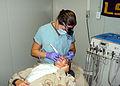 US Navy 100411-N-8325B-021 Hospital Corpsman 3rd Class Candace Roden cleans a Seabee's teeth in Kandahar, Afghanistan.jpg