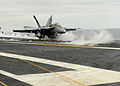 US Navy 100807-N-5386R-023 Rear Adm. Mark D. Guadagnini, commander of the Abraham Lincoln Carrier Strike Group, launches in an F-A-18E Super Hornet,.jpg