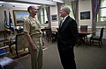 US Navy 110616-N-UH963-091 Secretary of the Navy (SECNAV) the Honorable Ray Mabus congratulates Adm. Jonathan W. Greenert on his nomination to be t.jpg