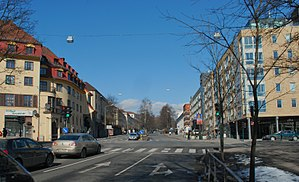 East End and West End of Oslo - Uelands gate, seen from the south from Alexander Kiellands plass - about 300 metres west of the Akerselva river.