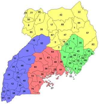 Districts of Uganda - Uganda Districts as of 2006, when there were 77 districts