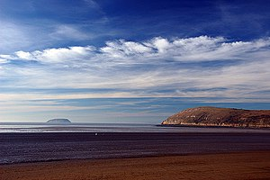 Brean and Steep Holm, seen from the beach at B...