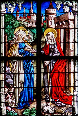 Peter Hemmel of Andlau - Detail from the 1480 Guilds Window in Ulm Minster, showing the Visitation.