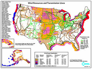 Map showing estimated wind resources and exist...