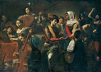 VALENTIN DE BOULOGNE - Concert avec une diseuse de bonne aventure - A Musical Company with a Fortune-Teller (Reunion with a Gypsy) 1631 LIECHTENSTEIN COLLECTION PRINCIERE.jpg