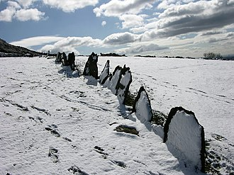 A snow-covered vaccary fence near Ramsbottom in Greater Manchester, UK Vacchary Fence in the snow - geograph.org.uk - 752248.jpg