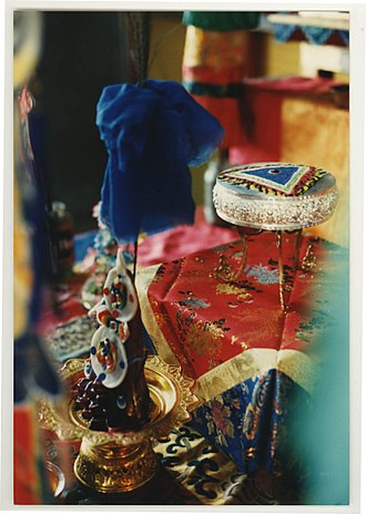 Empowerment (Vajrayana) - A torma and mandala offering for an empowerment ceremony