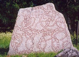 Runes - A Younger Futhark inscription on the 12th-century Vaksala Runestone in Sweden