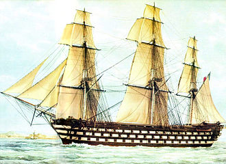French ship Valmy (1847) - watercolour of the Valmy, by F. Roux