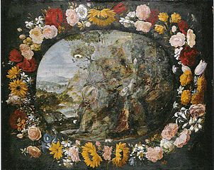 Landscape with a Wreath of Flowers