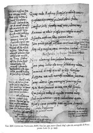 Julius Pomponius Laetus - Manuscript of Claudian, In Rufinum 1361–1376, in Pomponius' handwriting with his commentary