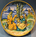 Venezia, piatto con piede e sacra famiglia, da durer, 1550-60 ca.JPG