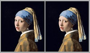 Van Hare Effect - Two identical images of the famous Vermeer painting, Girl with a Pearl Earring, painted c. 1665, are placed side-by-side to demonstrate the Van Hare Effect and how it can be used to reinterpret artworks.  The 2D painting can be artificially perceived as if it is stereoscopic, giving artificial depth.  In this case, a dimensional mistake is uncovered -- the girl's neck is not properly painted in the correct position for artificial depth.  This is an error in the original painting that heretofore typically escapes notice when seen by a common viewer's eye.  Once the error is recognized through application of the Van Hare Effect, it becomes easily recognized even when viewing normally as a single image.