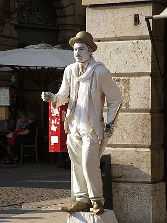 Stage clothes - A street actor dressed in the typical clothes of Charlie Chaplin