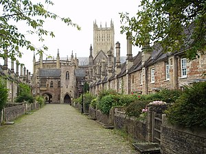 Wells, Somerset - Vicars' Close facing the cathedral