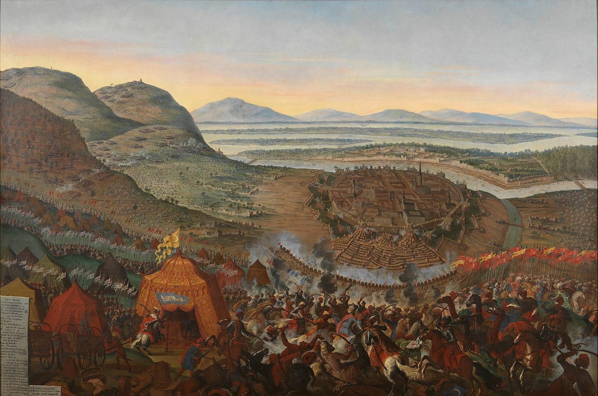 Zeitgenössisches Gemälde der Belagerung Wiens von 1683. Im Vordergrund das Entsatzheer von König JohannIII. Sobieski in der Schlacht gegen die Osmanen, im Hintergrund die belagerte Stadt.