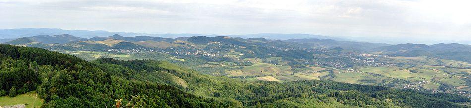 Štiavnické Bane - Banská Štiavnica v mohutnej kaldere niekdajšieho Štiavnického vulkánu (pohľad zo Sitna)