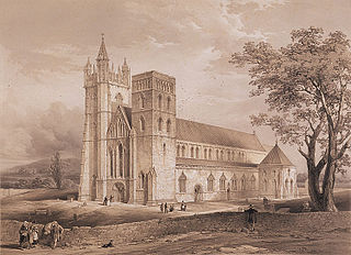 View showing the proposed restoration of Landaff cathedral