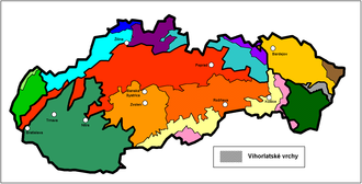 Vihorlat Mountains - Location of Vihorlat in Slovakia within the geomorphological division of Slovakia (in gray)
