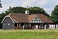 Village green cricket pavilion on match day at Matching Green, Essex, England 2.jpg
