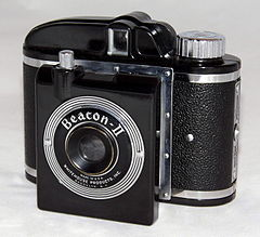 Vintage Beacon II Film Camera Manufactured From 1947 To 1955 By Whitehouse Products Inc., of Brooklyn, New York, Bakelite Case With A Built-In View Finder (21678112804).jpg