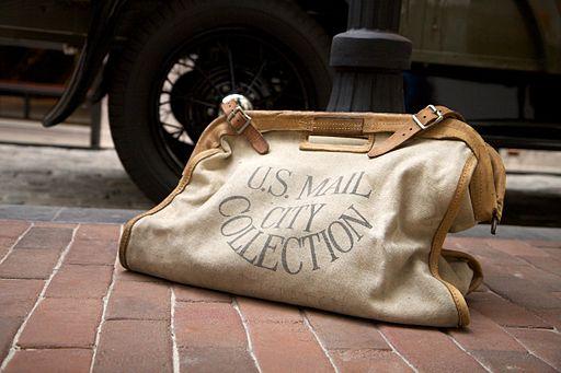 Vintage mail bag at the Postal Museum