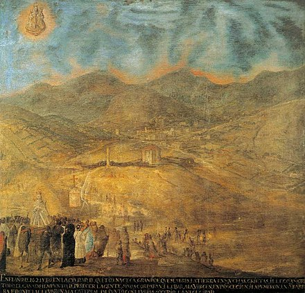 Artwork that shows a far view of the city. Mid-18th century. Virgen Guapulo.jpg
