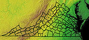 Topographic map of Virginia counties